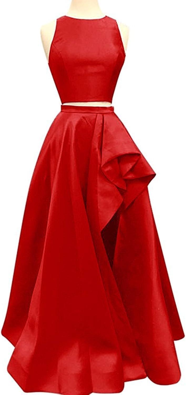 Hjtrust Women's Satin Prom Dresses Two Pieces HiLo Formal Evening Dress Party Gowns H064