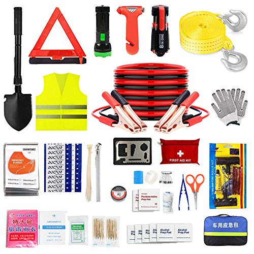 Car Emergency Kit,Auto Roadside Assistance Tool Bag Case for Truck Vehicle with Jumper Cables LED Flashlight,Winter Traveler Safety Emergency Kit with Blanket Shovel Triangle First Aid Kit for SUV RV