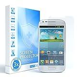 EAZY CASE 3X Panzerglas Bildschirmschutz 9H Festigkeit kompatibel mit Samsung Galaxy S3 Mini, nur 0,3 mm dick I Schutzglas aus gehärteter 2,5D Panzerglasfolie, Bildschirmschutzglas, Transparent/Kristallklar