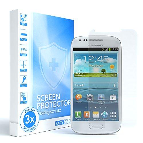 EAZY CASE 3X Panzerglas Displayschutz 9H Härte für Samsung Galaxy S3 Mini, nur 0,3 mm dick I Schutzglas aus gehärteter 2,5D Panzerglasfolie, Displayschutzglas, Transparent/Kristallklar