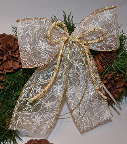 4x Weihnachtsschleife extravagant, Christbaumschmuck, Geschenkschleife creme-gold-rosegold