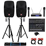 (2) Rockville BPA15 15' 1600w Active PA/DJ Speakers+Mixer+Mic+Stands+Cables+Bag