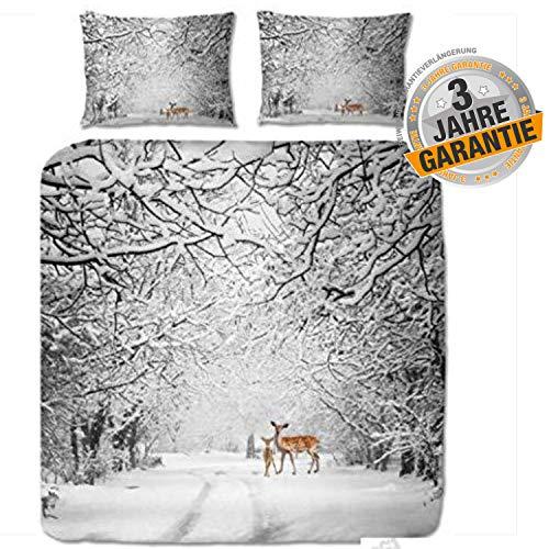 Aminata Kids Premium Biber-Bettwäsche-Set Winterlandschaft Weihnachten mit REH-Motiv, 200x200 cm + 2X Kopfkissen 80x80 cm, Baumwolle, Reißverschluss, Winter-Motiv, Männer, Damen, Paar, Wald-Motiv