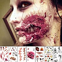 10 Sheets Halloween Scars Tattoos Stickers Temporary Tattoos for Temporary Prop Zombies Cosplay and Makeup Waterproof Sweatproof Terror Wound Injury Scar Blood Fake Tattoo