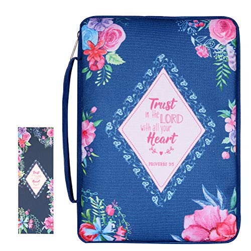 """Canvas Bible Cover Case for Women Book Cover Bag 10""""x7""""x2"""", Trust in The Lord with All Your Heart, Navy"""