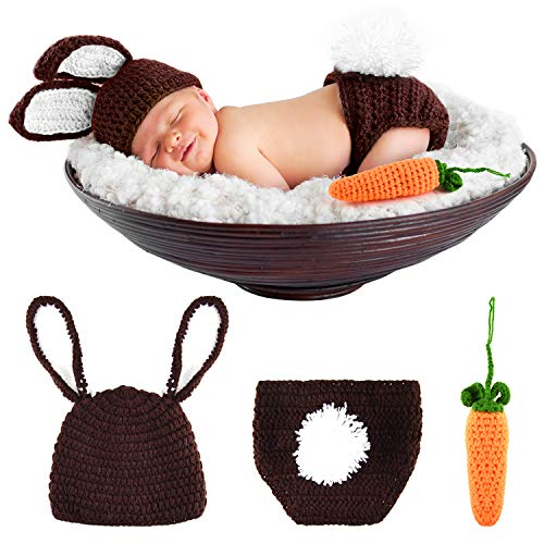 FEPITO Osterhasen Kaninchen Kostüm Neugeborene Fotografie Requisiten Häkeln Sie Strick Outfits (0-3 Monate)