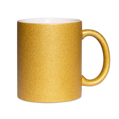 TASSENPALAST Tasse selbst individuell gestalten/Personalisierbar mit eigenem Foto Bedrucken/Fototasse/Motivtasse/Werbetasse/Firmentasse mit Logo od. Text (Gold)