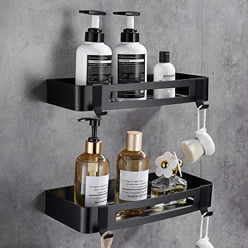 Hoomtaook Duschregal Ohne Bohren Badezimmer Duschwand Keine Beschädigung an Wandhalterung, für Badezimmer- und Küchenzubehör 2 Stück Schwarz