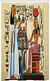 ABAKUHAUS Antik Schmaler Duschvorhang, Alte Ägyptisch Pharao Papyrus, Badezimmer Deko Set aus Stoff mit Haken, 120 x 180 cm, Himmelblau Redwood Ringelblume & Teal