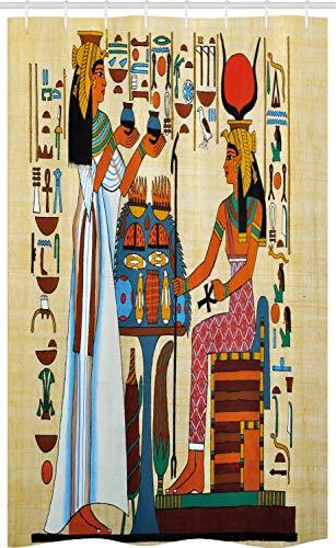 ABAKUHAUS Retro Cortina para baño, Historia de Egipto, Tela con Estampa Digital Apta Lavadora Incluye Ganchos, 120 x 180 cm, Multicolor