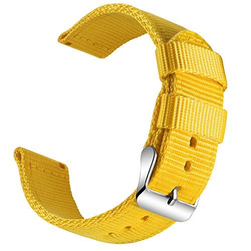 OLLREAR Nylon Correa Reloj Lienzo Correa Relojes Militar del ejército - 13 Colors & 4 Sizes - 18mm, 20mm, 22mm, 24mm (22mm, Yellow)