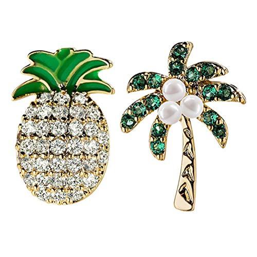 IMIKEYA 1 par de Pendientes de asimetría de Moda Temperamento de piña, joyería Decorativa de Oreja para Mujer y niña (Dorado+ Verde)
