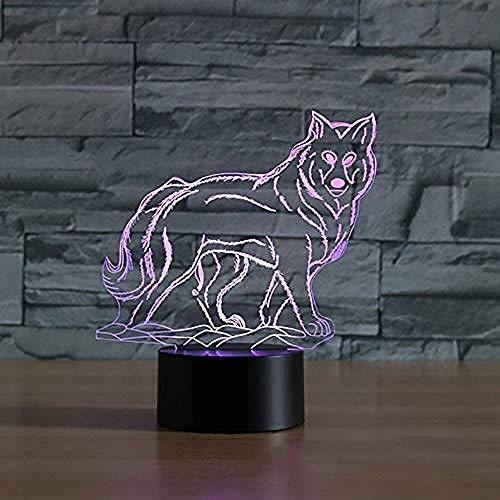 Lámpara 3D ilusión Lámpara De Ilusión Wolf Decoración Del Hogar Regalo De Cumpleaños Para Niños Habitación De Niños Con carga USB, control táctil de cambio de color colorido