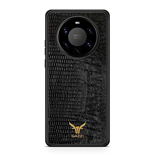 GAZZI Lederhülle für Huawei Mate 40 PRO Hülle Hülle Schale Backcover Handyhülle Schutzhülle Echt Leder, R&umschutz, Flexible Schale (Lizard Schwarz Gold)