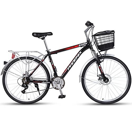 Bicicletas de Montaña Bicicleta Clásica De Playa De 26 Pulgadas,Bicicleta De 24 Velocidades Con Horquilla De Suspensión,Cuadro De Aleación De Aluminio Bicicleta Retro De Ciudad Con D(Color:Rojo negro)
