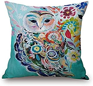 FashionMall Watercolor Painting Animals Flowers Cotton Linen Throw Pillow Covers 18 x 18 Decorative Pillowcase Owl