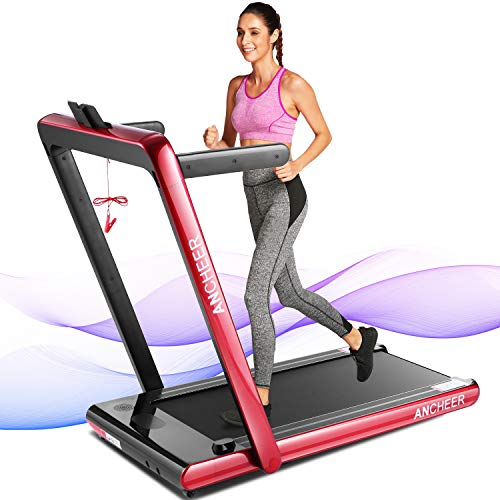 ANCHEER 2 in1 Folding Treadmill, 2.25HP Under Desk Electric Treadmill with Remote Control and Bluetooth Speaker & LCD Monitor,Installation-Free,Exercise Fitness Machine for Home/Office Use (red)