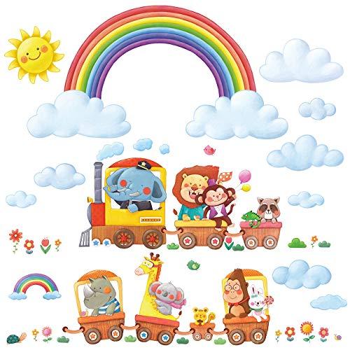 DECOWALL DA-1913P1406A Arco Iris animal tren Vinilo Pegatinas Decorativas Adhesiva Pared Dormitorio Salón Guardería Habitación Infantiles Niños Bebés