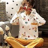 Moda Dibujar Pijamas Mujeres otoño e Invierno Nuevo Dulce hogar de Manga Larga Servicio Femenino Simple Traje Fresco