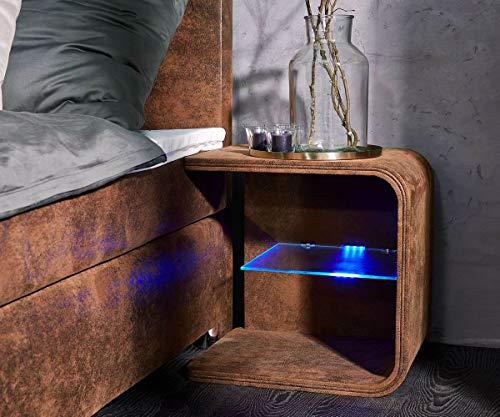 DELIFE Nachtkonsole Oscar Big Braun 50cm hoch mit LED Beleuchtung Nachttisch