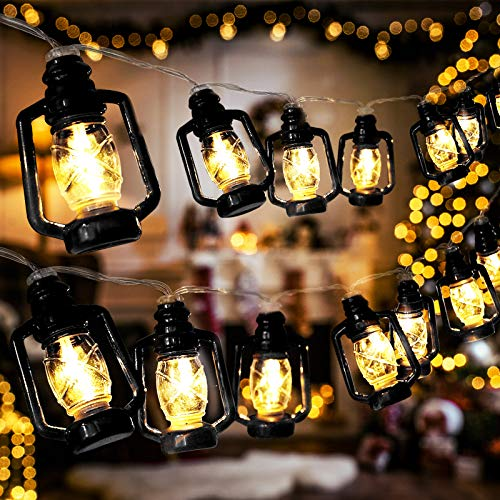 AceList 20 LED Black Lantern String Lights Mini Kerosene Lamp for Indoor Outdoor Patio Garden...