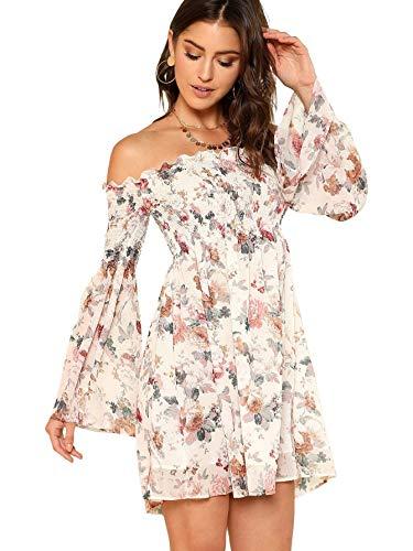 Romwe Women's Casual Floral Print Off Shoulder Trumpet Sleeve Swing Dress XS White
