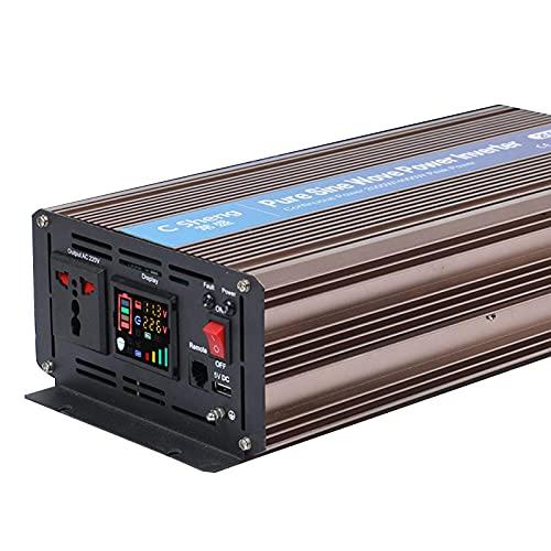 SGSG Inversor de energía de Onda sinusoidal Pura de 2000 vatios DC 12v / 24V / 48v a AC 110v / 220V con 1 tomacorriente de CA y Puerto USB y Pantalla LED para vehículos recreativos, Barcos, autom