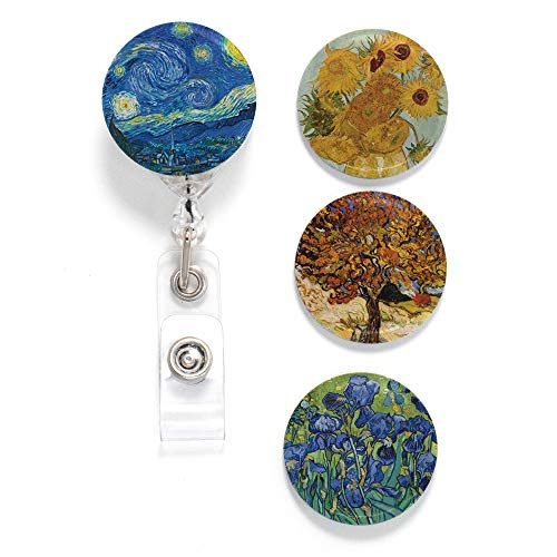 Buttonsmith Van Gogh Starry Night Tinker Reel Retractable Badge Reel - with Alligator Clip and Extra-Long 36 inch Standard Duty Cord - Made in The USA