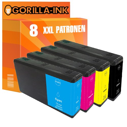 Gorilla-Ink 8 Patronen XXL kompatibel mit Epson T7901 T7902 T7903 T7904 79XL 79 XL   Für Workforce Pro WF-5110 WF-5190 DW WF-5620 WF-5690 DWF WF-5110DW WF-5190DW WF-5620DWF WF-5690DWF