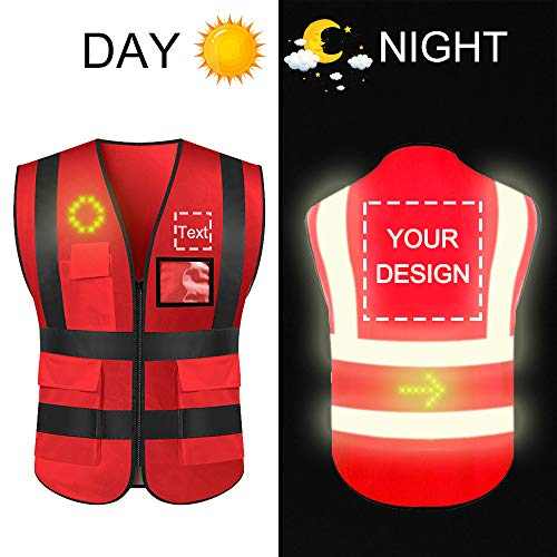 High Visibility Safety Vest Custom Your Logo Protective Workwear 5 Pockets With Reflective Strips Outdoor Work Vest (1 LED Light(put in front or back Special Pocket), Red XXXL)