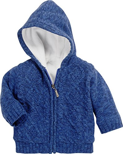 Schnizler Baby-Unisex Zopfmuster gefüttert Strickjacke, Blau (Marine 11), 80