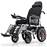 Electric Wheelchair with Reclining backrest, Foldable Mobile Electric Chair, Lightweight Portable Medical Scooter, Adjustable headrest(Black))