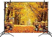 新しい7x5ft秋の森の背景写真の感謝祭の収穫Pu kinわら秋のカエデの葉の風景の背景キッズ子供ポートレートパーティーバナー装飾カスタマイズされた写真ブースの小道具