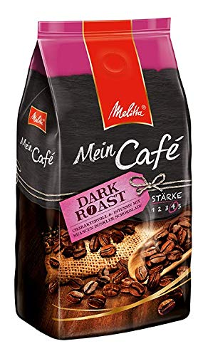 Melitta Ganze Kaffeebohnen, charaktervoll und intensiv mit Nuancen dunkler Schokolade, Stärke 4, Mein Café Dark Roast, 8 x 1 kg
