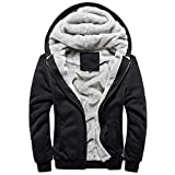 Reooly Winter Owl Print Warm Plus Velvet Zipper Thicken Sweater Jacket Sudadera con Capucha(H-Negro,X-Large)