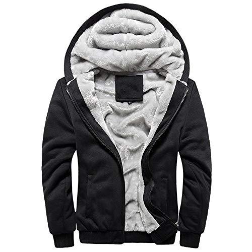 Hoodies FüR MäNner - MäNner Oversize Winter Warme Jacken Elegante Eule Druck ReißVerschluss Kapuzen Sweatshirt Outwear(Schwarz,L)