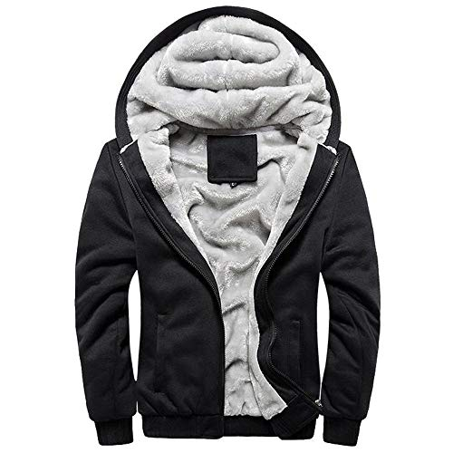 MRULIC Herren Hoodie Pullover Winter Warme Fleece Jacke Zipper Sweater Jacke Outwear Mantel RH-054 (EU-42/CN-M, Y3-Schwarz)