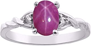 RYLOS Ladies Ring with Oval Shape Star Ruby Gemstone & Genuine Sparkling Diamonds in Sterling Silver .925-7X5MM Color Stone