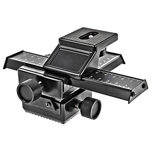 Minadax Professioneller *VOLLMETAL* 3D Einstellschlitten 4-Wege Makroschiene f. Panorama- u. Makrofotografie Kompatibel für Canon Nikon Sony Pentax Olympus Samsung und andere Kameras mit 1/4'' Gewinde