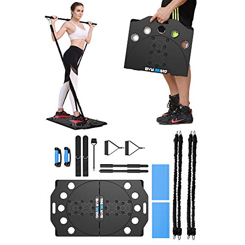 BARWING Portable Home Gym Equipment with Resistance Bands Bars and Push up Handles, Full Body Workout for Home Fitness