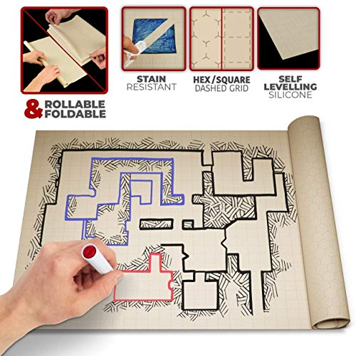 Battle Grid Silicone Game Mat 36 X 24 - Foldable/Portable/Instantly Lays Flat - Dominate RPG Tabletop Gaming w/ 2 Sided Anti-Stain Square Hex Dry Erase Markers Role Playing Map Board - Warhammer 40k