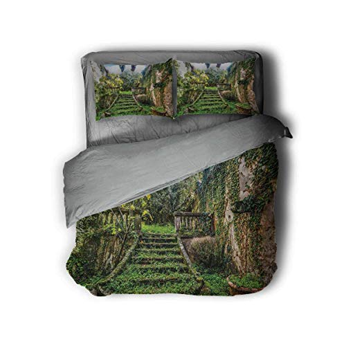 Luoiaax Nature Hotel Luxury Bed Linen Ancient Fairytale Theme Hidden Garden with Botanic Trees Flowers Ivy Image Print Polyester - Soft and Breathable (King) Multicolor