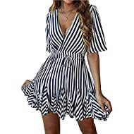 PRETTYGARDEN Women's Sexy Deep V Neck Short Sleeve Striped Wrap Ruffle Hem Pleated Mini Dress with Belt