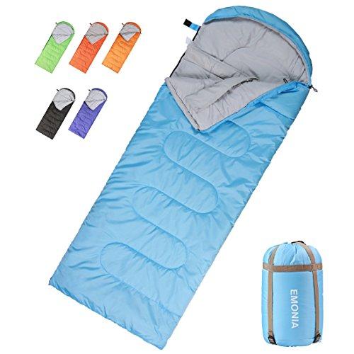 EMONIA Camping Sleeping Bag,3 Season Waterproof Outdoor Hiking Backpacking Sleeping Bag Perfect for Traveling,Lightweight Portable Envelope Sleeping Bags for Adults,Girls and Boys