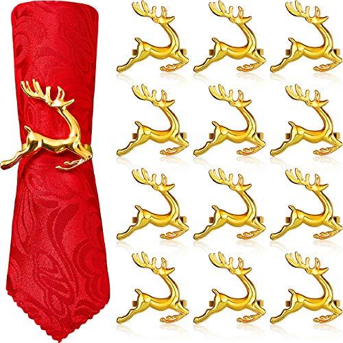 WILLBOND Serviettenringe mit Hirsch-Motiv, Weihnachts-Serviettenringhalter, Rentier, Serviettenschnalle für Urlaub, Abendessen, Partys, Hochzeitsschmuck, Tischdekoration, Zubehör (Gold, 12 Stück)