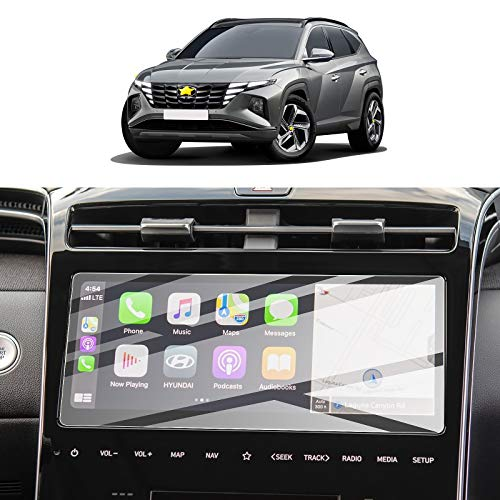 Screen Protector Film for 2021 Tucson NX4 Navigation Display Anti Scratch Tempered Glass 9H Hardness HD Clear Anti-Explosion Hyundai GPS LCD Touch Screen Protector Foils (10In Navi)