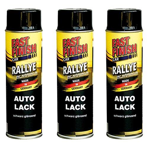 Motip Dupli - Fast Finish Autolack Rallye Spraydose 500ml schwarz glänzend 3 Stück
