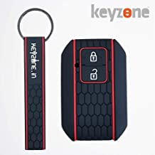 keyzone® Keycare® Silicone Key Cover for Suzuki Baleno 2019 2b Smart Key with Keyring (Black)