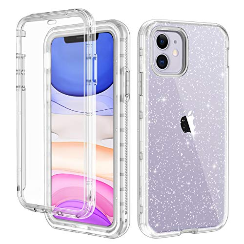 LONTECT for iPhone 11 Case Built-in Screen Protector Glitter Clear Sparkly Bling Rugged Shockproof Hybrid Full Body Protective Case Cover for Apple iPhone 11 6.1 2019, Clear/Silver Glitter