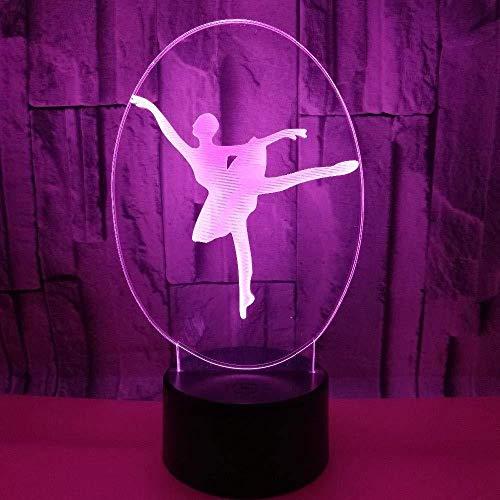 YOUPING Lámpara de ilusión 3D LED noche luz gaopin creativa ballet bailarín hogar decorativo iluminación cable USB niñas regalos dormitorio lámpara de mesa multicolor